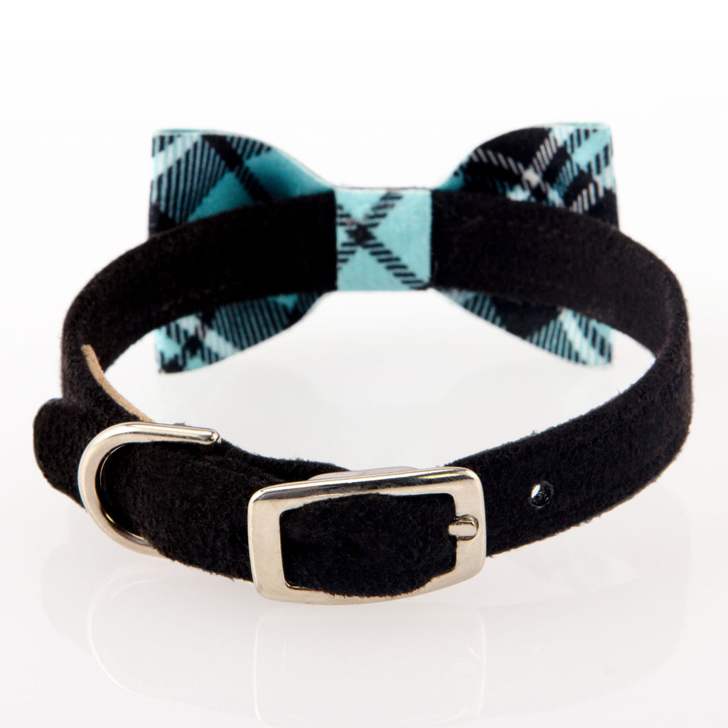 Scotty Tiffi Turquoise Plaid Bow Designer Luxury Soft UltraSuede Stain & Discoloration-Resistant Dog Collar
