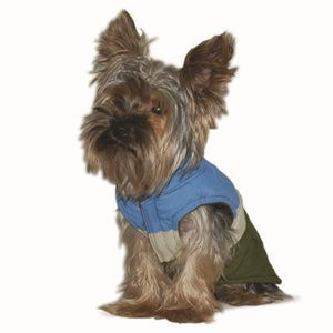 Tri-Color Blue Outdoor Camper Water-Resistant Designer Warm Fleece Dog Coat Jacket