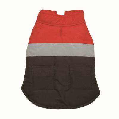 Tri-Color Red Camper Water-Resistant Designer Warm Fleece Dog Vest Coat Jacket