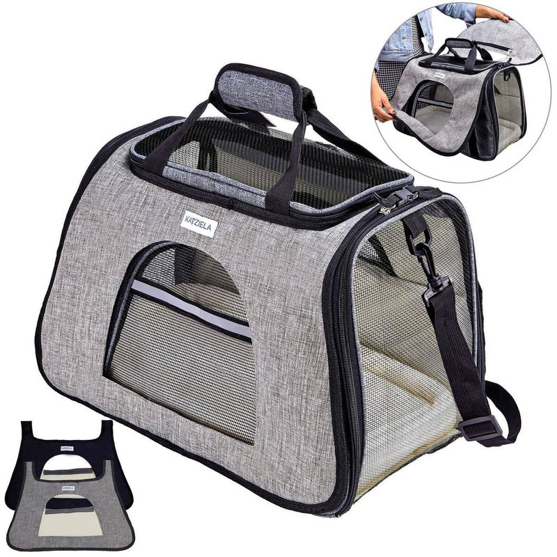 Katziela Designer Grey Chameleon Commuter TSA Airline Approved Soft Pet Cat & Dog Carrier Bag