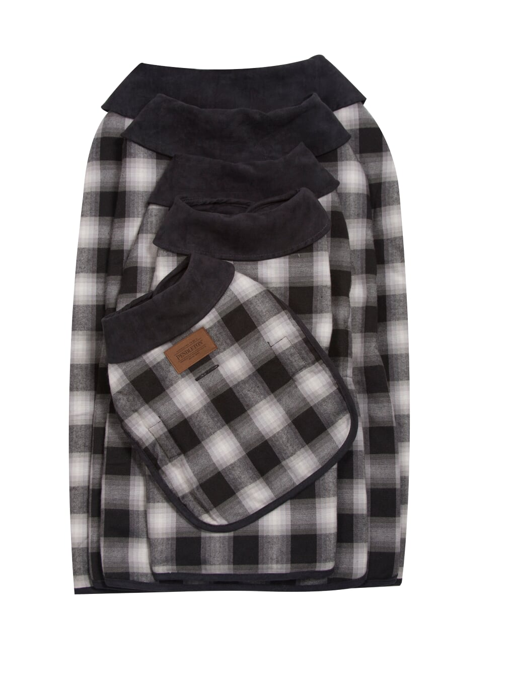 Pendleton Designer Charcoal Ombre Plaid Reversible Warm Dog Coat Jacket