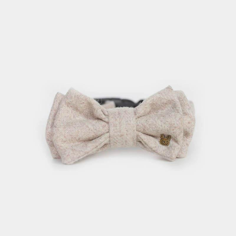 Cooney Beige Double Bow Tie Barkholic Designer Premium Luxury Dog Collar