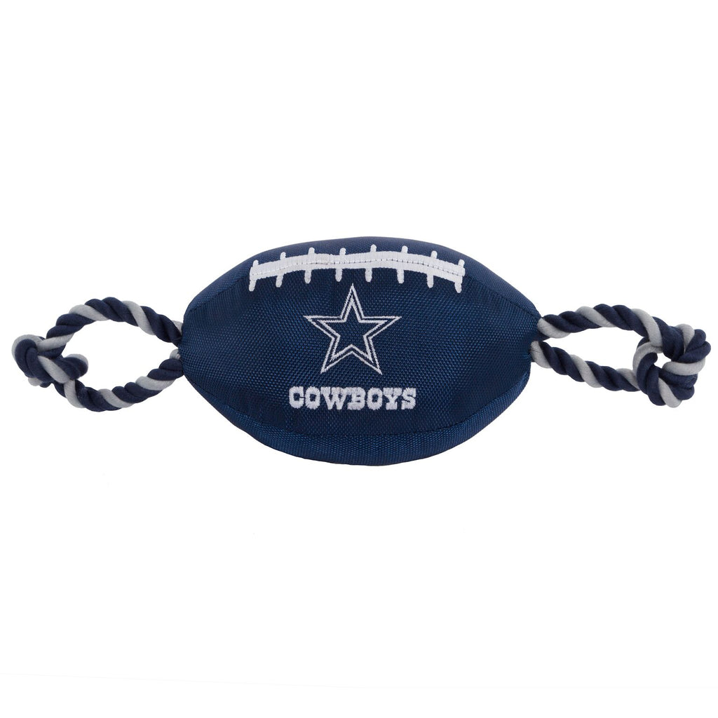 Dallas Cowboys Nylon Football Squeaker Tug Rope Dog Toy