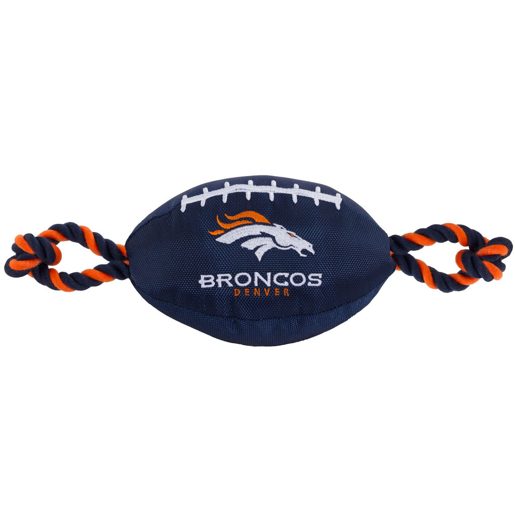 Denver Broncos Nylon Football Squeaker Tug Rope Dog Toy