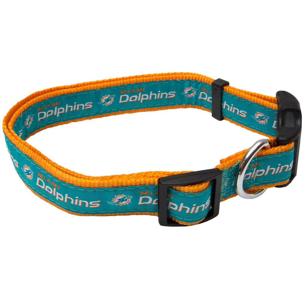 Miami Dolphins NFL Sports Nylon Ribbon Dog Collar