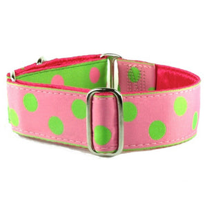 Just Dottie Kiwi / Bubblegum Polka Dots Designer Luxury Handmade Dog Collar