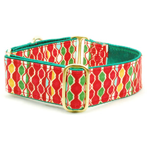 Joy Red & Green Satin-Lined Christmas Holiday Handmade Designer Dog Collar