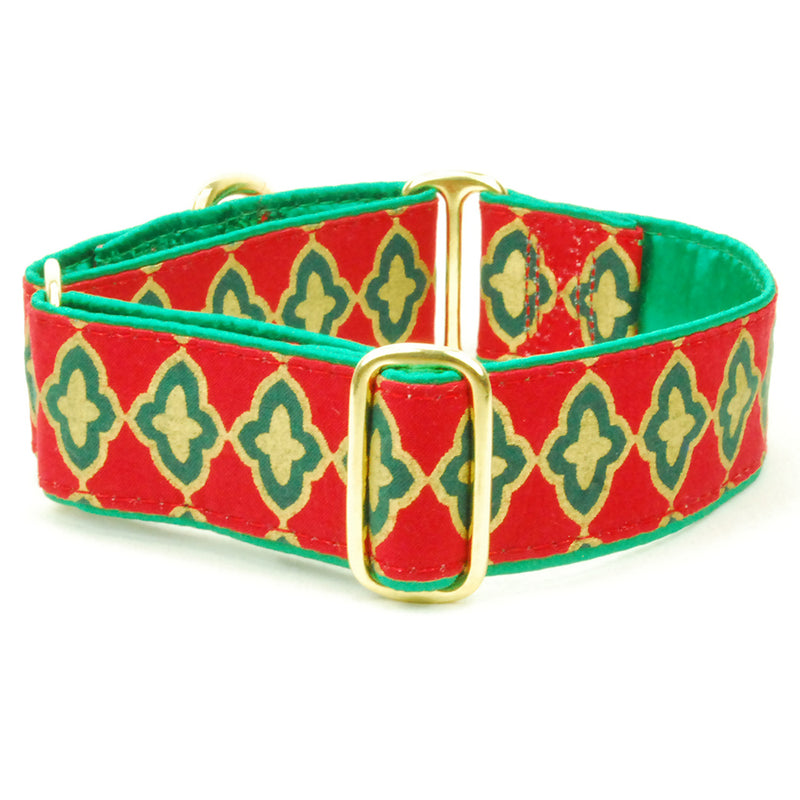 Christmas Holiday Tile Red Handmade Green Satin-Lined Dog Collar