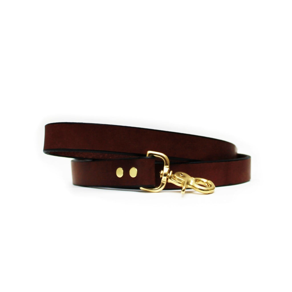 Vegetable Tanned Full Grain 100% Genuine Leather Anti-Rust American Bench Premium Dog Leash