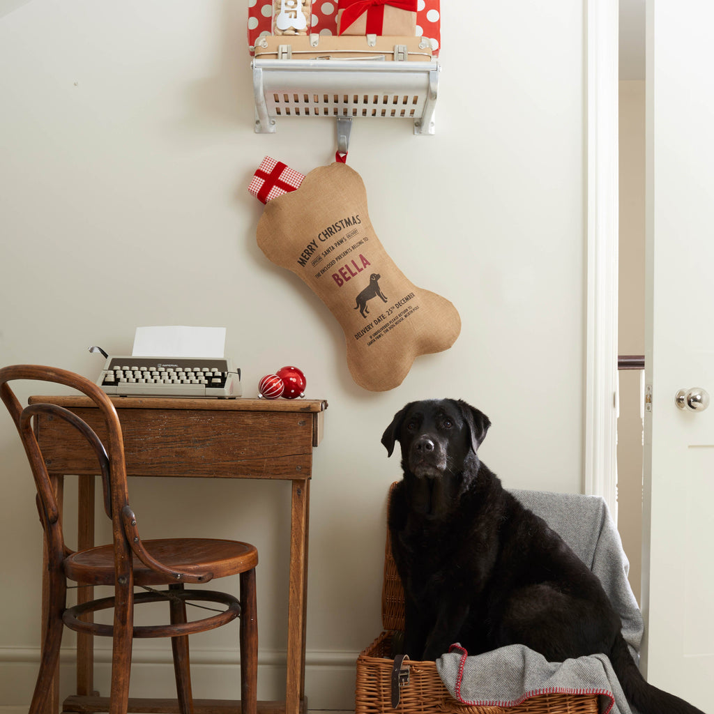 Personalize 100% Natural Burlap Christmas Holiday Dog Stocking Kit (Personalize with ANY Name)