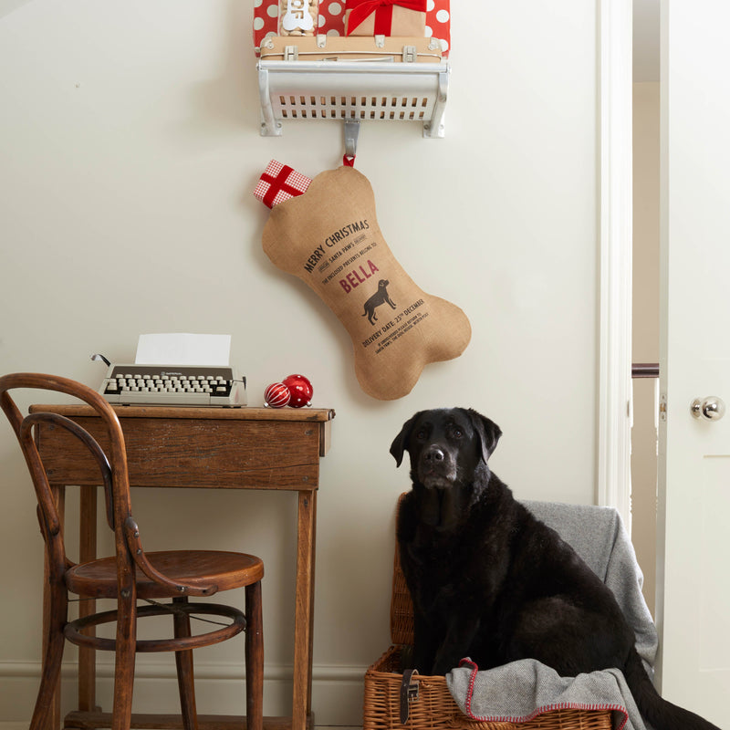 Personalized 100% Natural Burlap Christmas Holiday Dog Stocking Kit (Personalize With ANY Name)