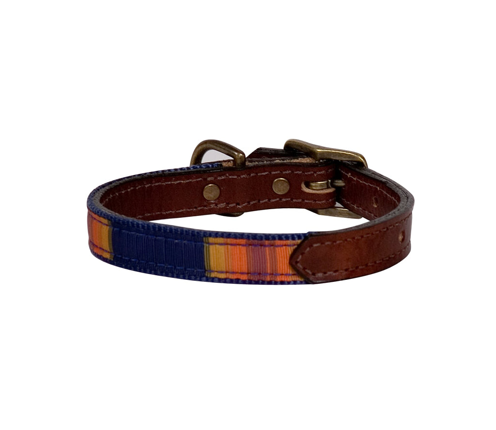 Grand Canyon Navy Stripes Pendleton Designer Luxury Premium Dog Collar & Leash Set