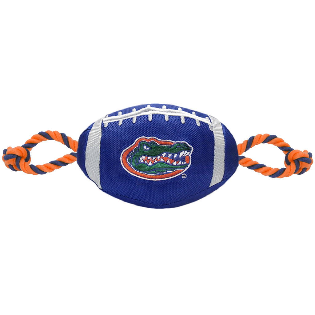 Florida Gators Nylon Football Squeaker Tug Rope Dog Toy