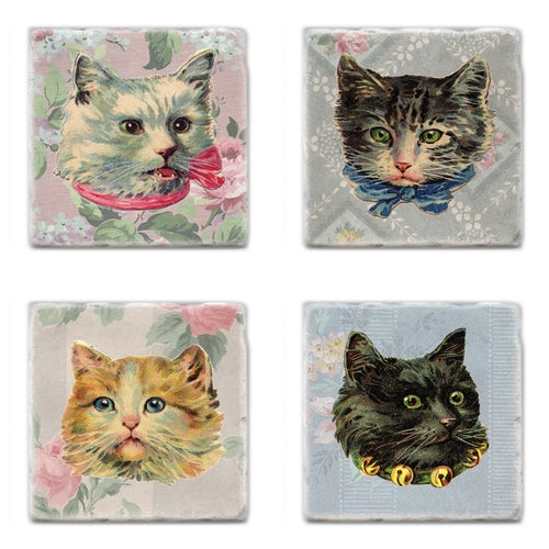 Cat Design Marble Drink Coaster Set