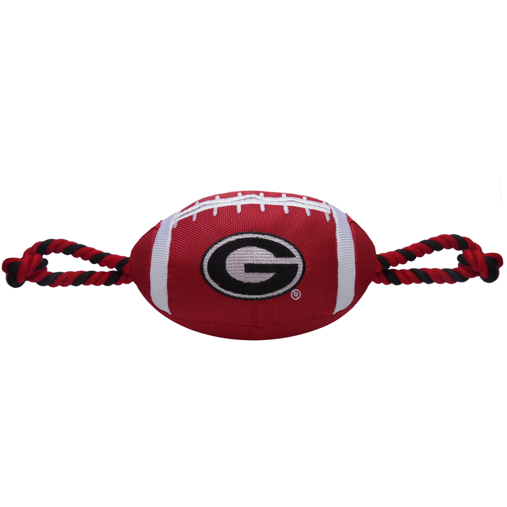 Georgia Bulldogs Nylon Football Squeaker Tug Rope Dog Toy