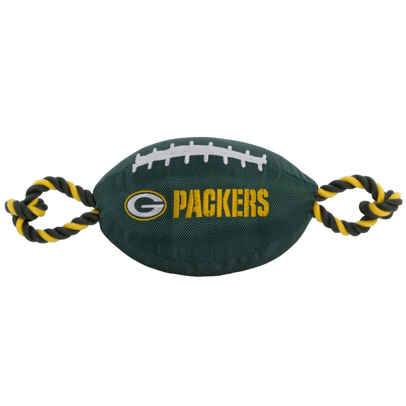Green Bay Packers Nylon Football Squeaker Tug Rope Dog Toy