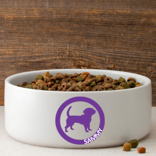 Circle of Love Dog Silhouette Large Bowl (Personalize)