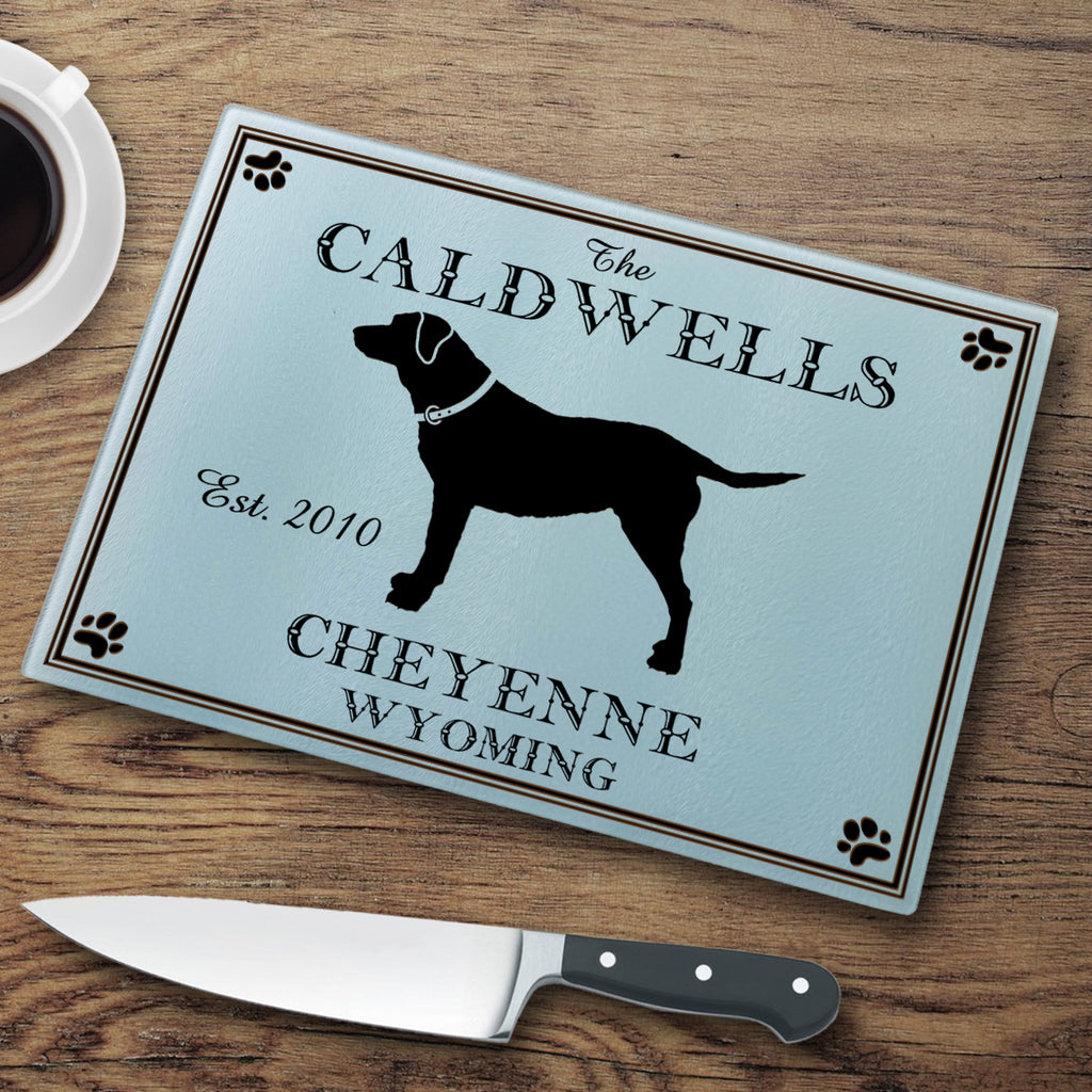 Dog Silhouette Glass Cutting Board (Personalize)