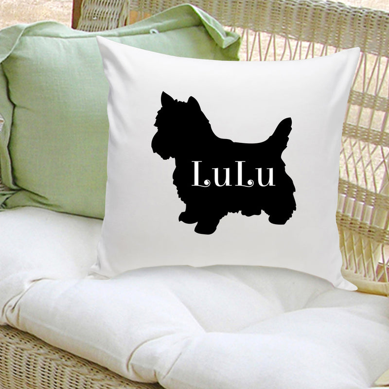 Dog Silhouette Zip Off Throw Pillow (Personalize)