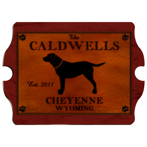 Rustic Cabin Vintage Home Wall Sign- Dog Silhouette (Personalize)