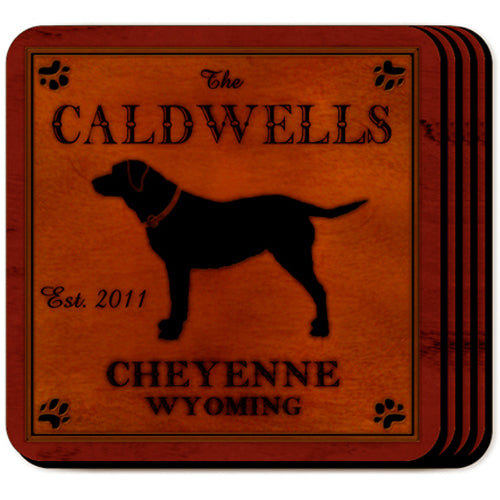Rustic Cabin Dog Silhouette Drink Coasters (Personalize)