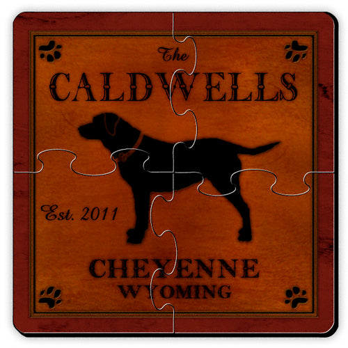 Rustic Cabin Drink Coaster Puzzle - Dog (Personalize)