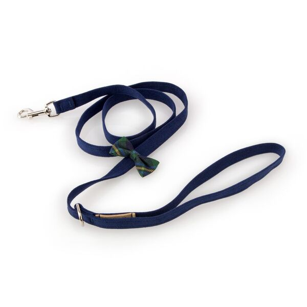 Scotty Forrest with Classic Green Plaid Bow Upholstery-Grade UltraSuede Luxury Designer Dog Leash