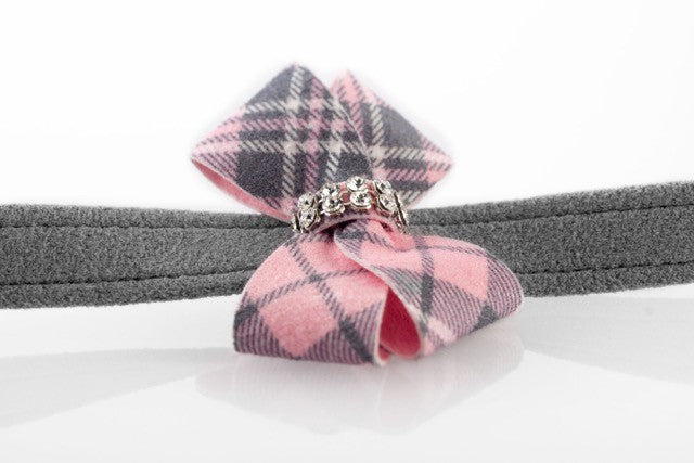 Scotty Plaid Puppy Pink Nouveau Bow and Genuine Swarovski Crystals UltraSuede Designer Dog Leash