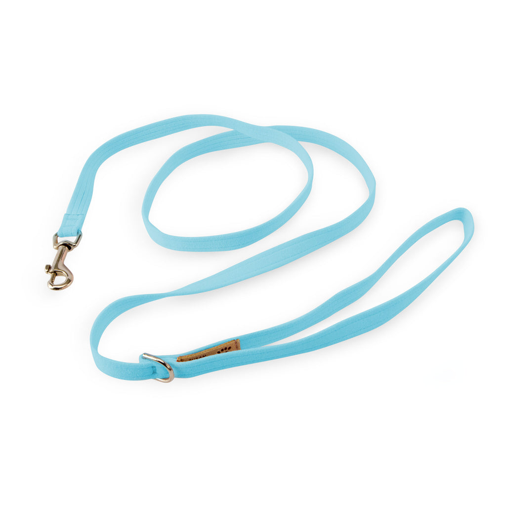 Tiffi Blue Solid UltraSuede Designer Dog Leash