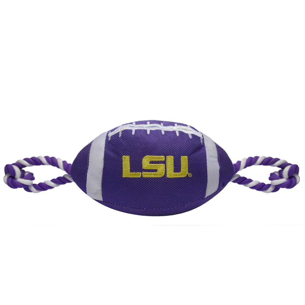LSU Tigers Nylon Football Squeaker Tug Rope Dog Toy