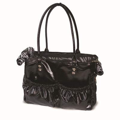 Luxurious Black Pleather & Zebra Lining Tote Pet Cat & Dog Purse Bag Carrier