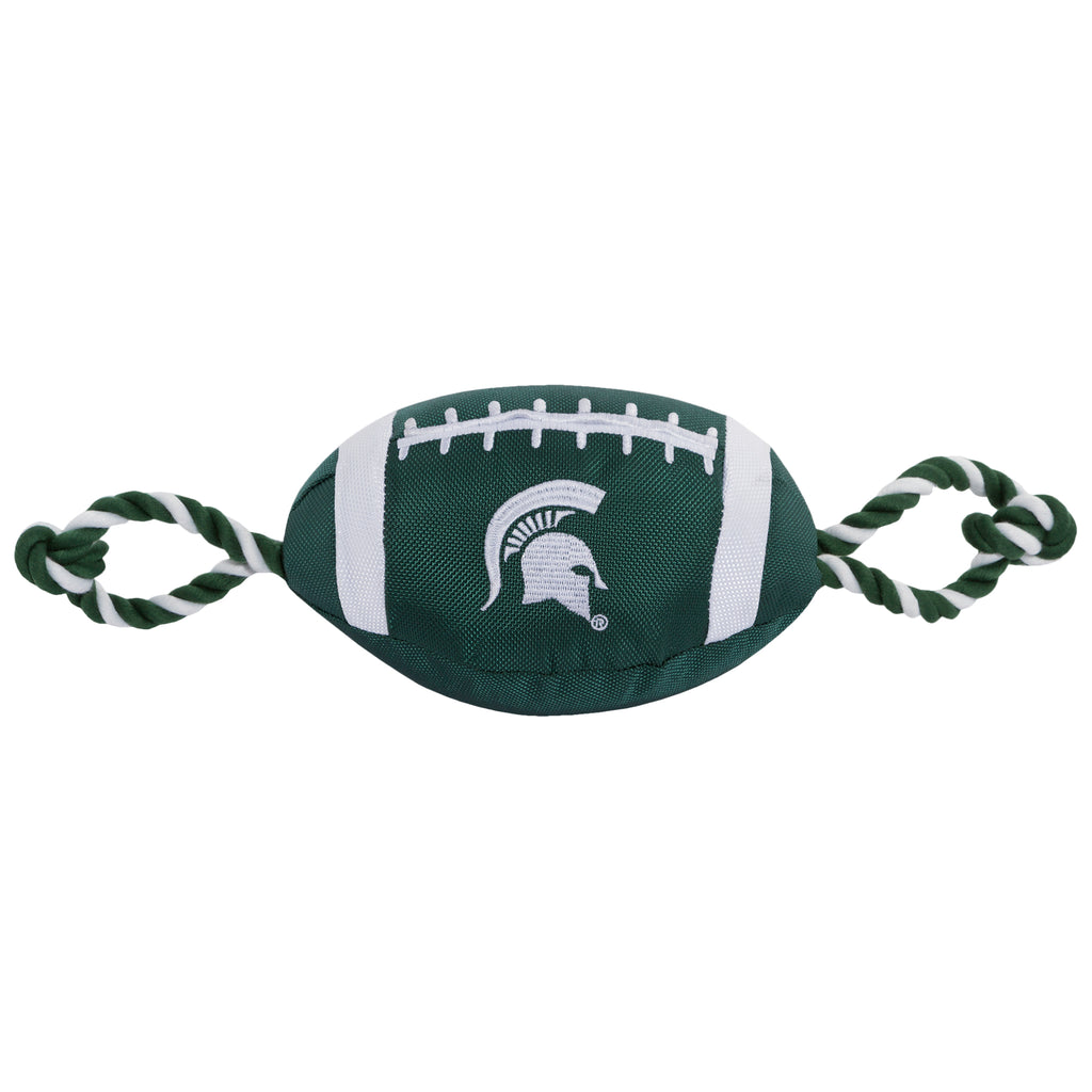 Michigan State Nylon Football Squeaker Tug Rope Dog Toy