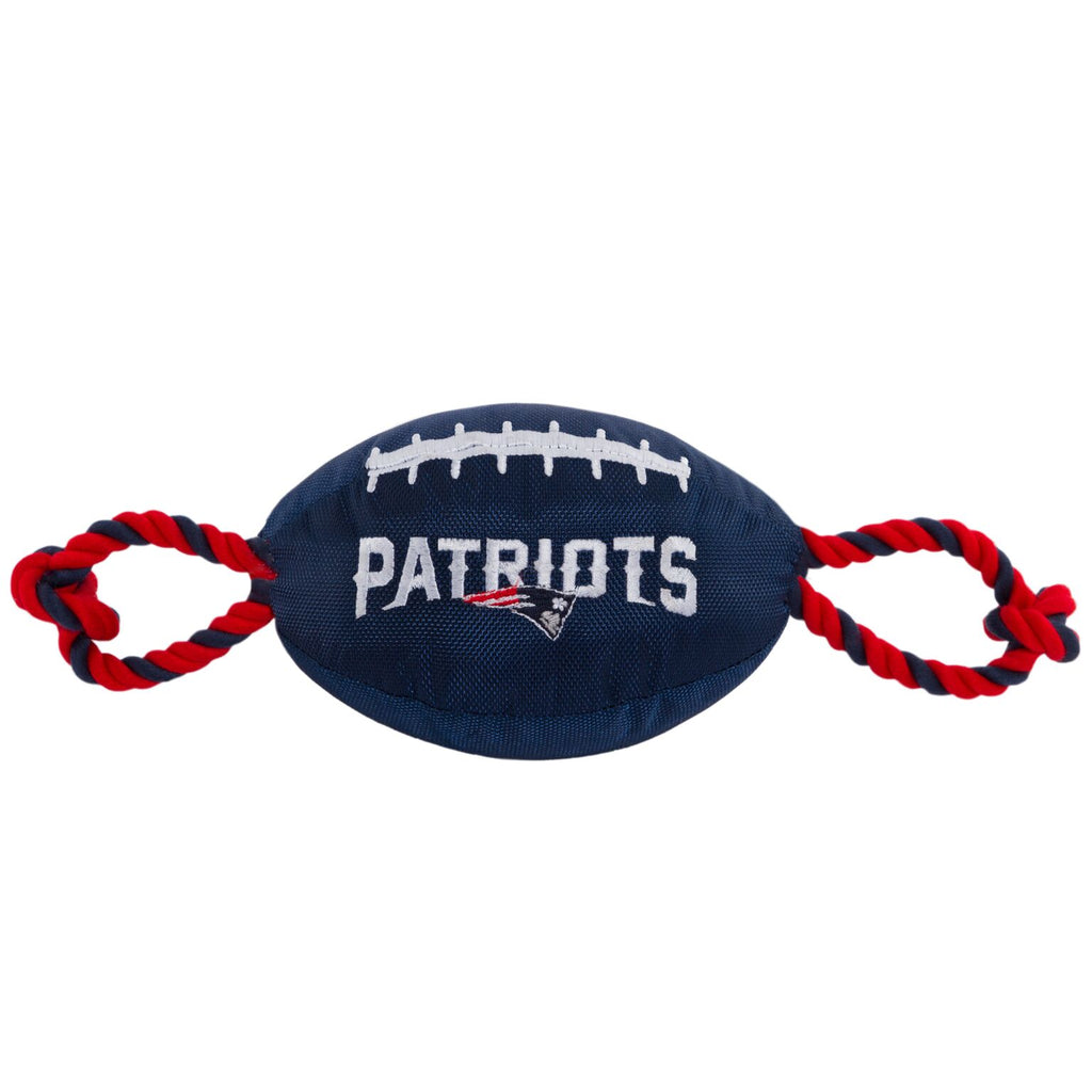 New England Patriots Nylon Football Squeaker Tug Rope Dog Toy
