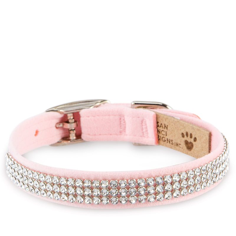 Giltmore Puppy Pink Lavish Genuine Swarovski Crystals UltraSuede Designer Dog Collar