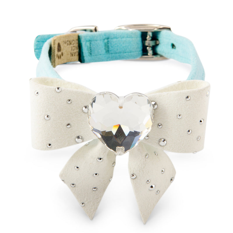 Tiffi's Gift Blue Genuine Swarovski Crystal UltraSuede Designer Dog Collar