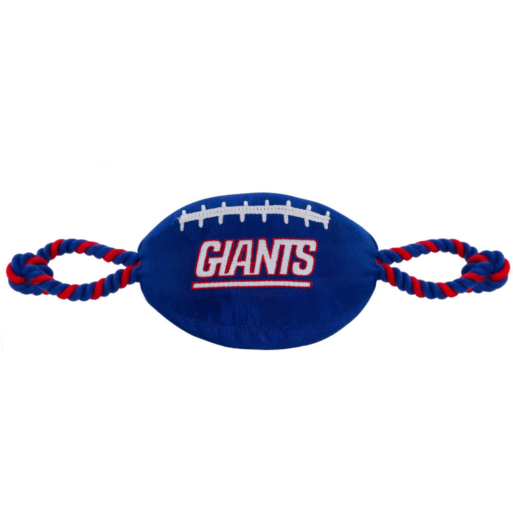 New York Giants Nylon Football Squeaker Tug Rope Dog Toy