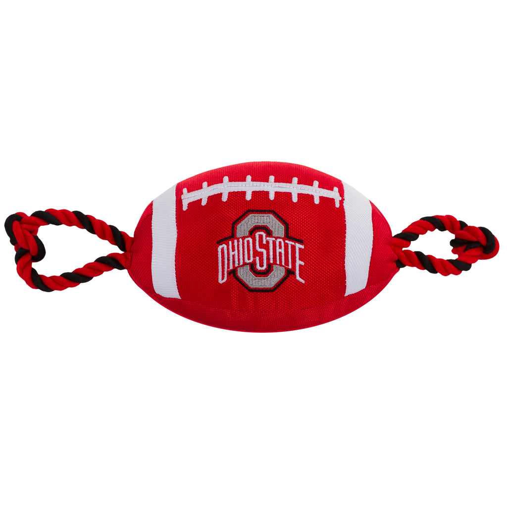 Ohio State Nylon Football Squeaker Tug Rope Dog Toy