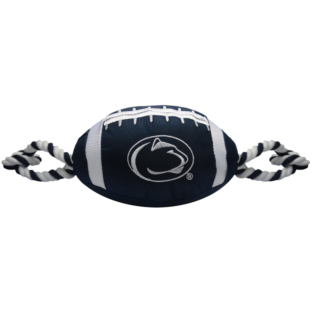 Penn State Nylon Football Squeaker Tug Rope Dog Toy