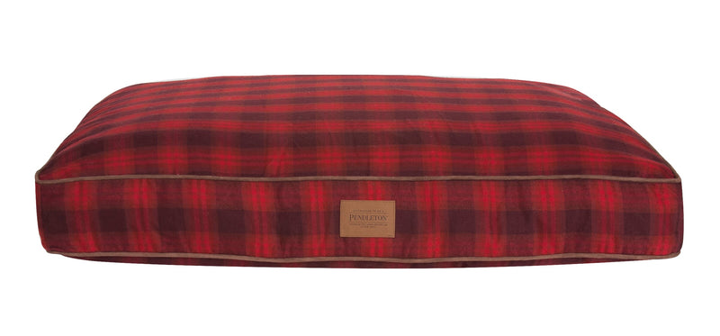 Pendleton Designer Red Ombre Plaid Water-Resistant Polyester Memory Fiber Fill Napper Dog Bed