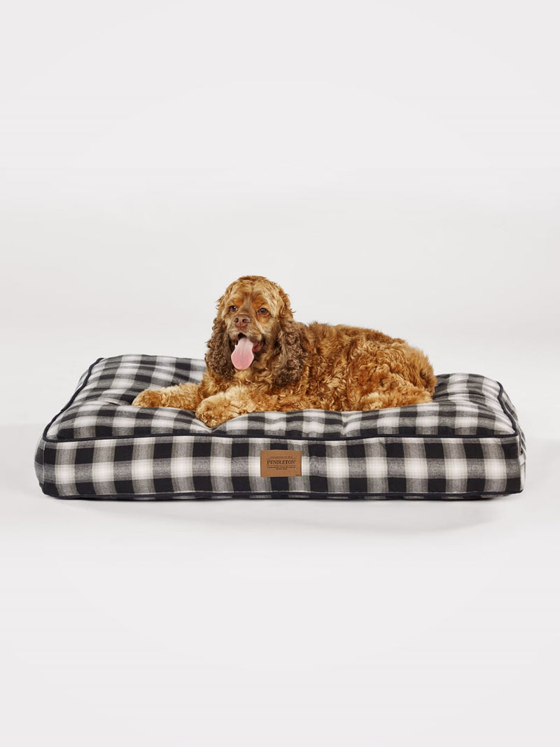 Pendleton Designer Charcoal Ombre Plaid Water-Resistant Soft Plush Napper Luxury Pet Dog Bed
