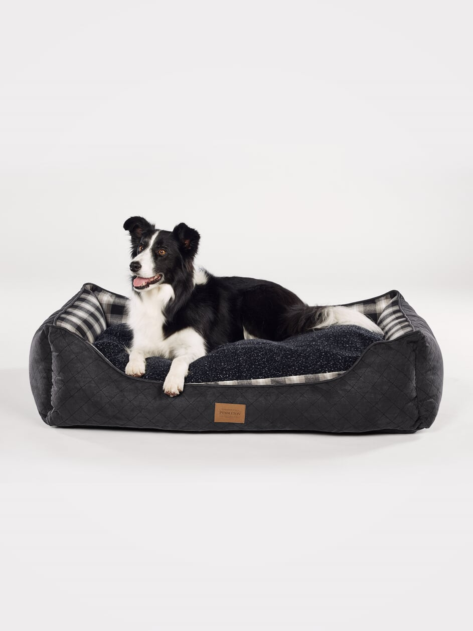 Pendleton Designer Charcoal Ombre Plaid Water-Resistant Reversible Kuddler Luxury Pet Dog Bed