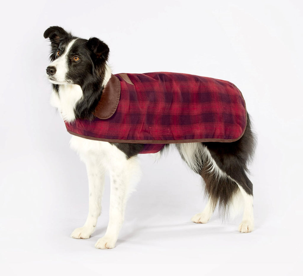 Pendleton Designer Red Ombre Plaid Reversible Luxury Warm Premium Dog Jacket Coat