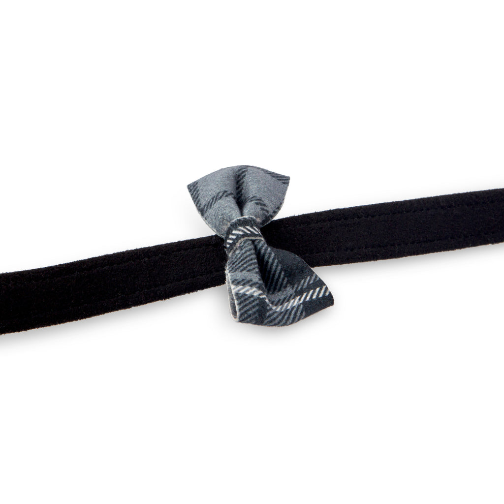 Scotty Plaid Charcoal with Grey & Black Tux Bow UltraSuede Designer Dog Leash
