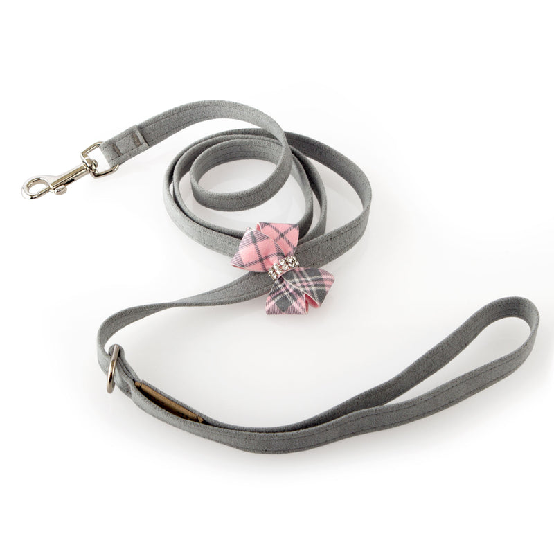 Scotty Plaid Puppy Pink with Nouveau Bow UltraSuede Designer Dog Leash