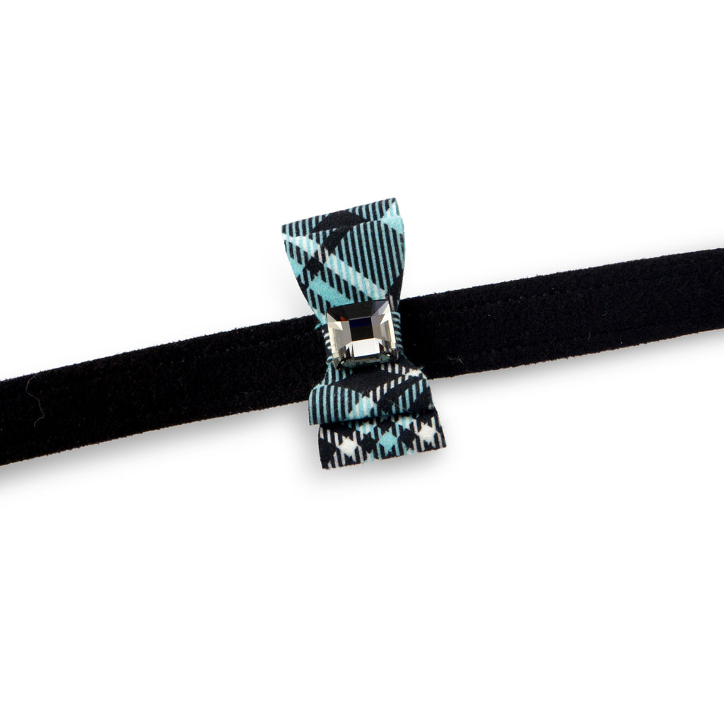 Scotty Tiffi Turquoise Plaid Big Bow with Genuine Swarovski Crystal UltraSuede Designer Dog Leash