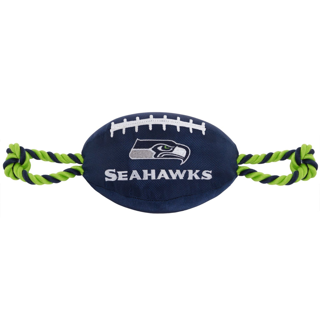 Seattle Seahawks Nylon Football Squeaker Tug Rope Dog Toy