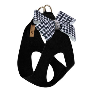 Black & White Houndstooth Nouveau Bow Genuine Swarovski Crystals Step-In Below-The-Neck CHOKE FREE Designer UltraSuede Dog Harness