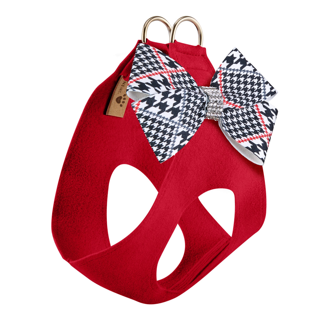 Classic Glen Red Houndstooth Nouveau Bow Genuine Swarovski Crystals Step-In Below-The-Neck CHOKE FREE Luxury Designer UltraSuede Dog Harness