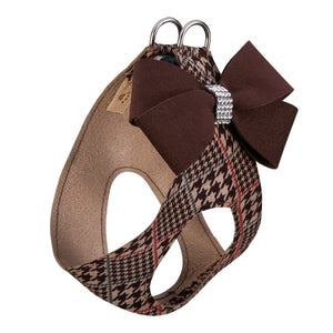 Chocolate Glen Houndstooth Nouveau Bow Genuine Swarovski Crystals Step-In Below-The-Neck CHOKE FREE Luxury Designer UltraSuede Dog Harness