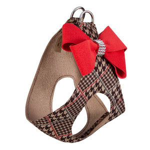 Chocolate Glen Houndstooth Red Pepper Nouveau Bow Genuine Swarovski Crystals Step-In Below-The-Neck CHOKE FREE Luxury Designer UltraSuede Dog Harness